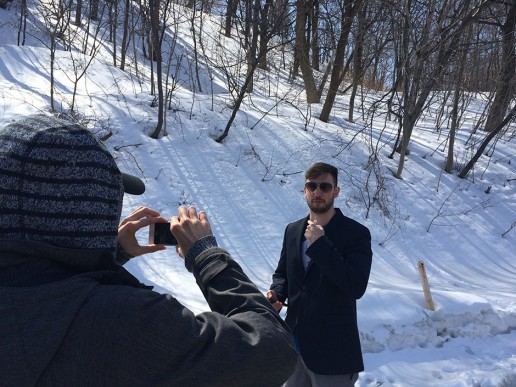 We didn't let the snow and the cold stop us from filming. We are hardcore.